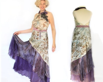 Eco Print Silk Dress Natural Dyeing on Silk, silk craft, Eco leaf flower natural dyeing, Natural Plant Dyed, Eco Friendly Summer Clothing