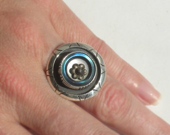 Blue MOP and Steel Button from Paris France Sterling Silver Ring - Modern Hand Crafted Adjustable Ring with Antique French Button