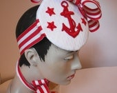 White Pique SAILOR Hat with Red Anchor applique.