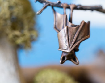 Sleeping Bat Necklace, Silver and Bronze Pendant
