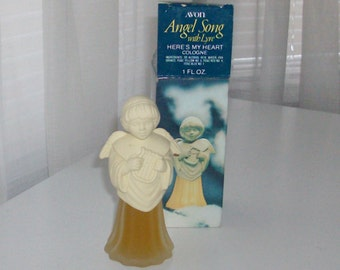 Angel Song with Lyre Decanter with Here's My Heart Cologne by Avon (code d)