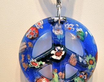 30% OFF SALE --- Cobalt Blue Millefiori Lampwork Peace Sign and Ribbon Necklace