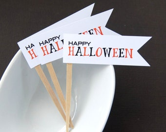 Happy Halloween Flag Cupcake Toppers, Party Picks or Skewers (Set of 12)