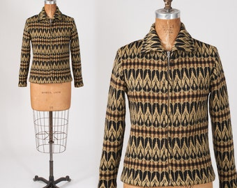 1950s Ski Sweater White Stag Wool Cardigan: Vintage Knit, Moss & Black Pattern, Zipper Front, Made in Denmark