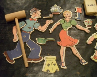 Vintage Blondie, Dagwood, Alexander, Daisy Game Puzzle with Hammer & Nails