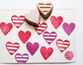 love heart stamp set. hand carved rubber stamp. mother's day valentine's day birthday scrapbooking. gift wrapping. making gift tags stickers