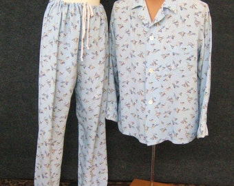 Men's Rayon Pajama Set, 30s Vintage 40s, Blue Forty Winks Counting Sheep Novelty Print, Shirt & Button Fly Pants, Manhattan Shirt Co Size B