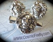 Big Lion Cufflinks & Lion Tie Clip Set Vintage Inspired BIG Cufflinks Gothic Victorian Silver Cufflinks Mens Cufflinks Set of 3 Pieces