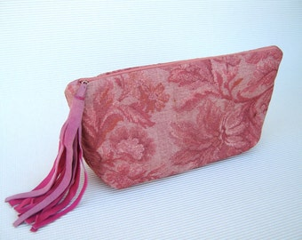 SPECIAL OFFERS Sales Discount Gift Pink Zipper Closure with Leather Tassel Vintage Floral Tapestry Fabric Purse