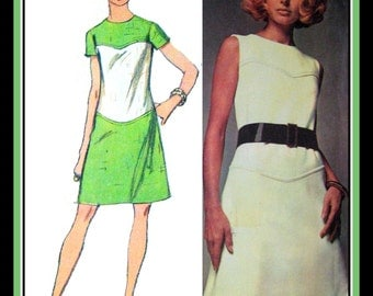 Vintage 1969-COUTURE MOD DRESS-Sewing Pattern-Two Styles-A-Line-Color Block Option- Curved Seaming-Top-Stitching-Size 10- Uncut- Rare