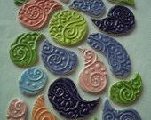 19J - Mehndi Inspired Stamped Paisley Shapes - Ceramic Mosaic Tiles