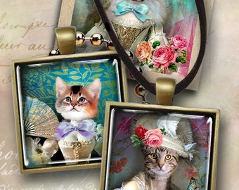 Digital Collage Sheets LADY CAT 1x1 inch and 2x2 inch size images for pendants, magnets, paper craft Printable downloads Art Cult graphics