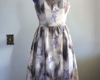 vintage 1950s Dress  // Bird Print Strapless Dress
