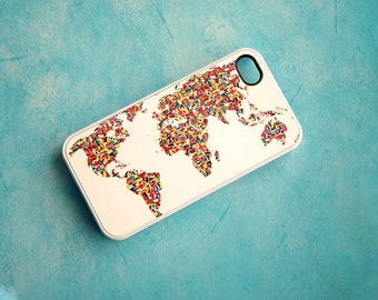 Custom iPhone World Flag Case, World Map, Mosaic, unique iPhone 4, 4s, 5, 5s, 6, 6s, 6 Plus, 6s Plus Case, Galaxy S5, S6 Case