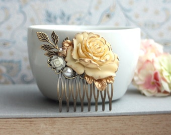 Wedding Hair Comb, Antiqued Ivory Gold Rose Brass Leaf Hair Comb Ivory Rose Gold, Leaves Hair Comb Winter Gold Wedding Fall Gold Ivory Comb