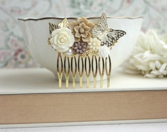 Rose Flower Gold Butterfly, Brown Latte Flower, Gold Leaf Hair Comb. Gold and Ivory Wedding Ideas Hair Piece. Gold Comb. Bridesmaids Gifts.