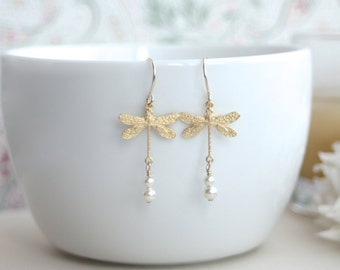 Flying Dragonfly, Swarovski Ivory Pearl Gold Dangle Earrings. Nature Garden Inspired. Bridesmaid Gifts. Whimsey. Whimsical, Dragonfly Lover.