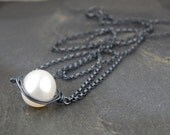 Pearl necklace, single pearl necklace, black and white, handmade wire wrapped jewelry, pearl pendant necklace, June birthstone - Cygnet Noir