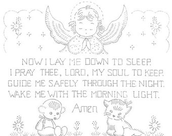 Vintage Hand Embroidery Transfer  Now I Lay Me Down To Sleep Picture 17x11 inch from the 1960's