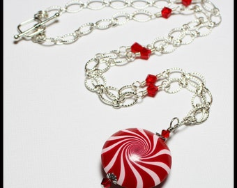 Peppermint Twist... Handmade Jewelry Necklace Beaded Polymer Clay Crystal Silver Chain Swirl Spiral Red White Candy Cane Christmas Gift