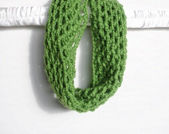 Crochet Fishnet Cowl Scarf Neck Warmer in Lime Green, vegan, ready to ship.
