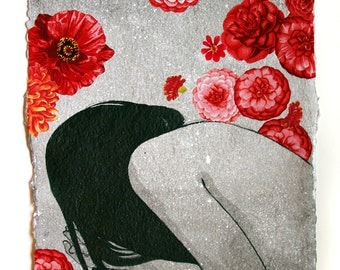 SALE - Dahlia - original charcoal ink and fabric collage