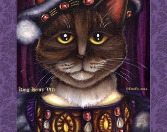 King Henry VIII Cat Art, Brown Tabby Cat Dressed as Tudor King, 5x7 Fine Art Print