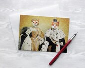 Cat Card Anniversary Love Wedding King & Queen Cats  5x7 Greeting Card - Rulers of the Household