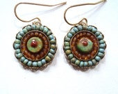 Micro Mosaic, Turquoise, Tribal,  Beaded, Boho, Green, Resin, Earrings, Bohemian Earrings