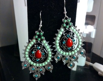 Turquoise Red Chandelier Earrings