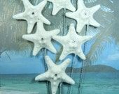 Ivory Starfish Stems - 6 German Glass Glitter Crystal Stars - Starfish Wedding Bouquet Bridal Bouquet or Centerpiece