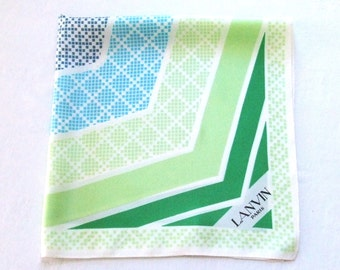 Large Silk Scarf by Lanvin Paris in Blue and Green