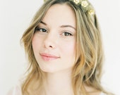 """Gold flower crown wreath with tulle and pearls """"Elyse"""""""
