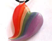 Rainbow Heart Hand Blown Glass Necklace Pendant Jewelry