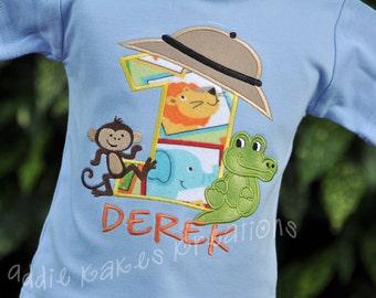 Safari Birthday Shirt - Monkey - Alligator - Safari Hat - Personalized Shirt -  Safari Birthday Party -Jungle Birthday - Zoo Shirt