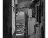 The Pupil Fine Art Photography Black and White Street Photography Girl in Black Decisions Large Wall Art Hill town Italian Historic Street