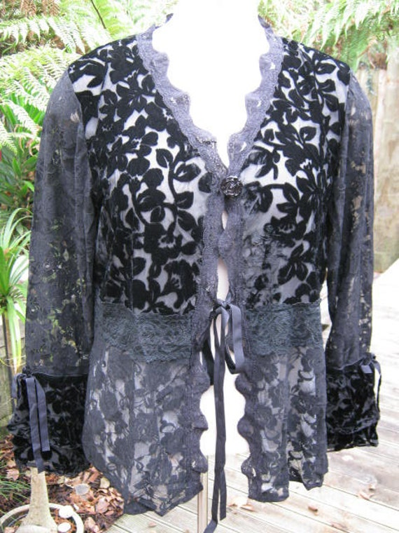 SIREN .gorgeous lace and velvet.. steampunk , gypsy couture ..  jet black.. med/large