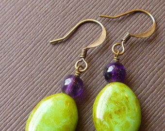 Pond -- Antiqued Seafoam Green with Royal Purple Beads on Antiqued Brass -- babblingbrookes