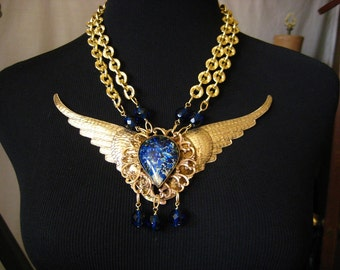 Angel Wing Necklace Handmade OOAK Statement Necklace