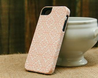 Peach Bohemian iPhone Case, Diamond Pattern Boho iPhone 6, iPhone 5S, Galaxy S6 Edge, Boho iPhone 6 Plus Case