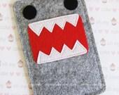"iPhone sleeve, felt iPhone sleeve, iPhone case, felt iPhone case, iPhone bag, iPhone 5s sleeve, iPhone 5s case, ""grey Monster design"""