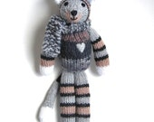 "Stuffed Animal Cat - Hand Knit Plush Doll - Striped Tabby Cat Baby Kitty - Stuffed Knit Toy Knit Animal Stuffed Toy Kitten Cat 13 1/2"" Tall"