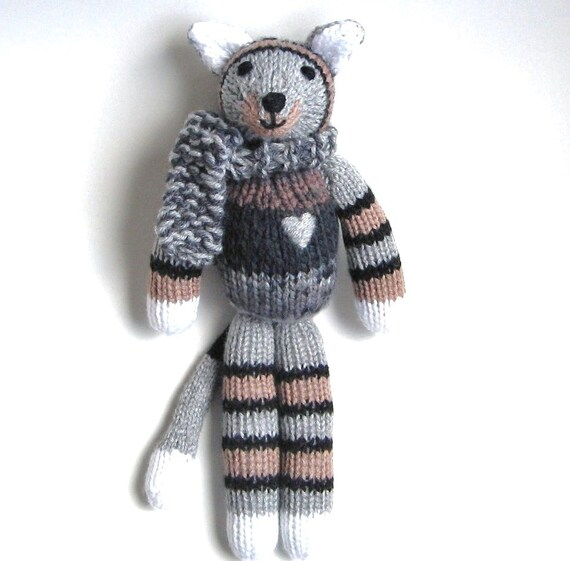 Stuffed cat striped walking