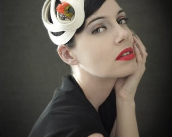Modern Sculptural Cream Felt Fascinator - Orbital Series - Made to Order