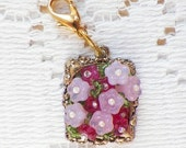 Victorian Light and Dark Pink and Rose Flowers / Floral Glass Bead Zipper / Sweater / Purse Charm / Pull