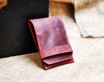 Burgundy Leather iPhone Case and Card Wallet - Pop-Up Phone Wallet