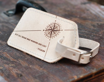 Not all those who wander are lost Leather Luggage Tag - Tolkien, LOTR gifts, travel gift, wanderlust, travel tags, travel accessories