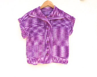 Vintage Sailor Sweater 1980s Purple Cardigan Cropped, Sailor Collar Hand Crochet Top Small to Medium Granny Chic Variegated Purples