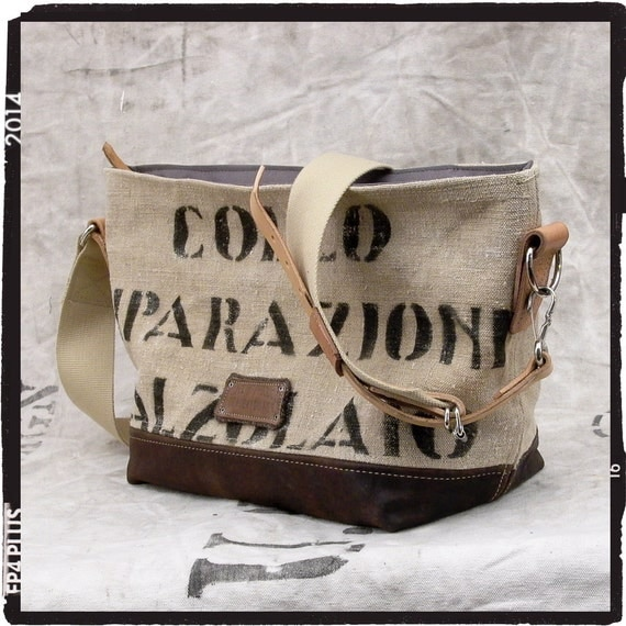 Beige Canvas Tote Bag, Small Tote Bag, Cross Body Tote, Recycled Italian Military Canvas, Recycled Leather Jacket / Upcycled in GERMANY-2072