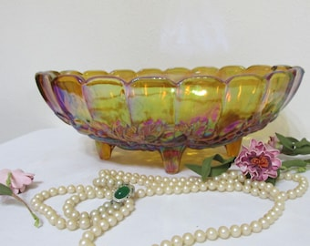 Marigold Carnival Glass Footed Fruit Bowl Indiana Glass Centerpiece